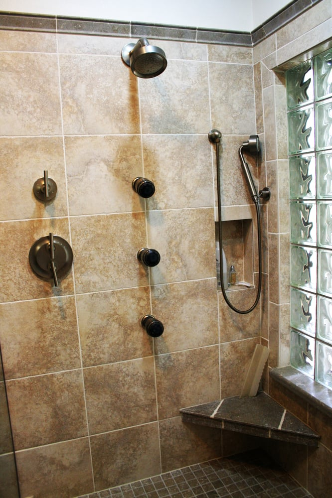 Body jets, hand held shower, niche in wall and corner shelf. Great ...