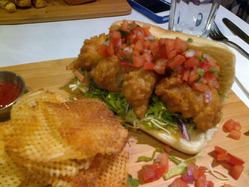 Fried Shrimp Po'Boy (fresh baked roll topped with fried ...