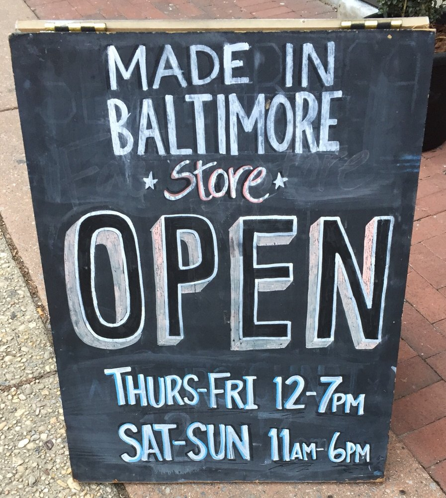 Made In Baltimore Store: 22 W North Ave, Baltimore, MD