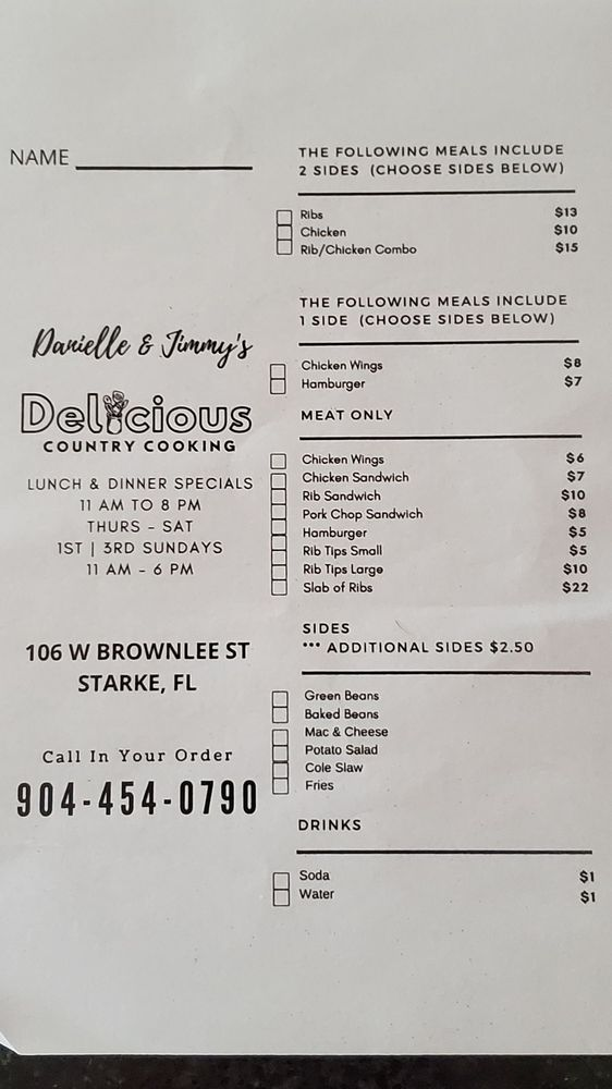 Danielle's & Jimmy's Delicious Country Cooking: 106 W Brownlee St, Starke, FL