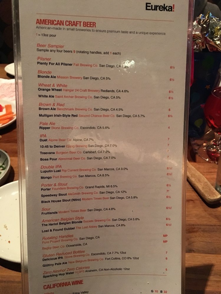 photo of eureka san diego ca united states drink menu