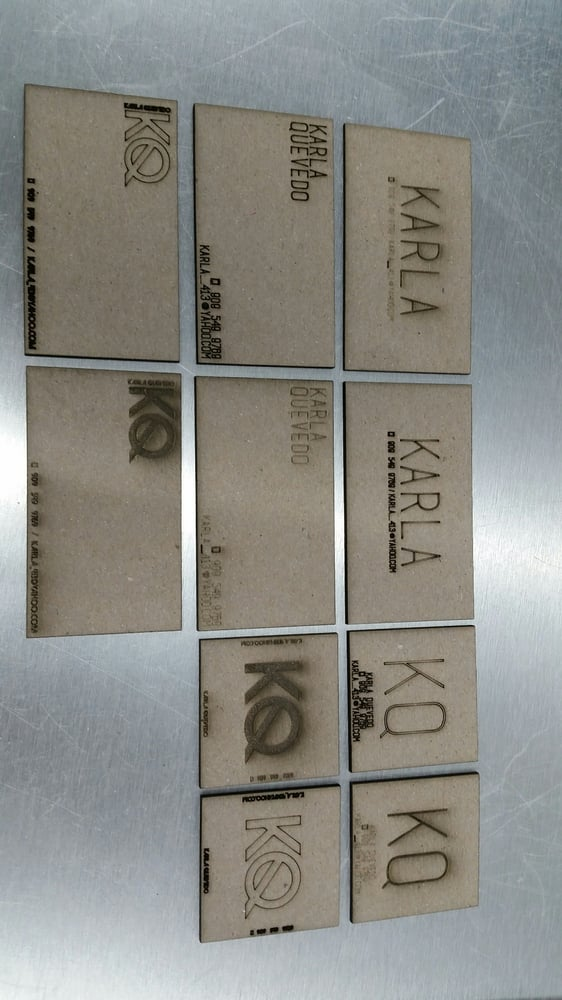 Laser etched business cards on chipboard - Yelp