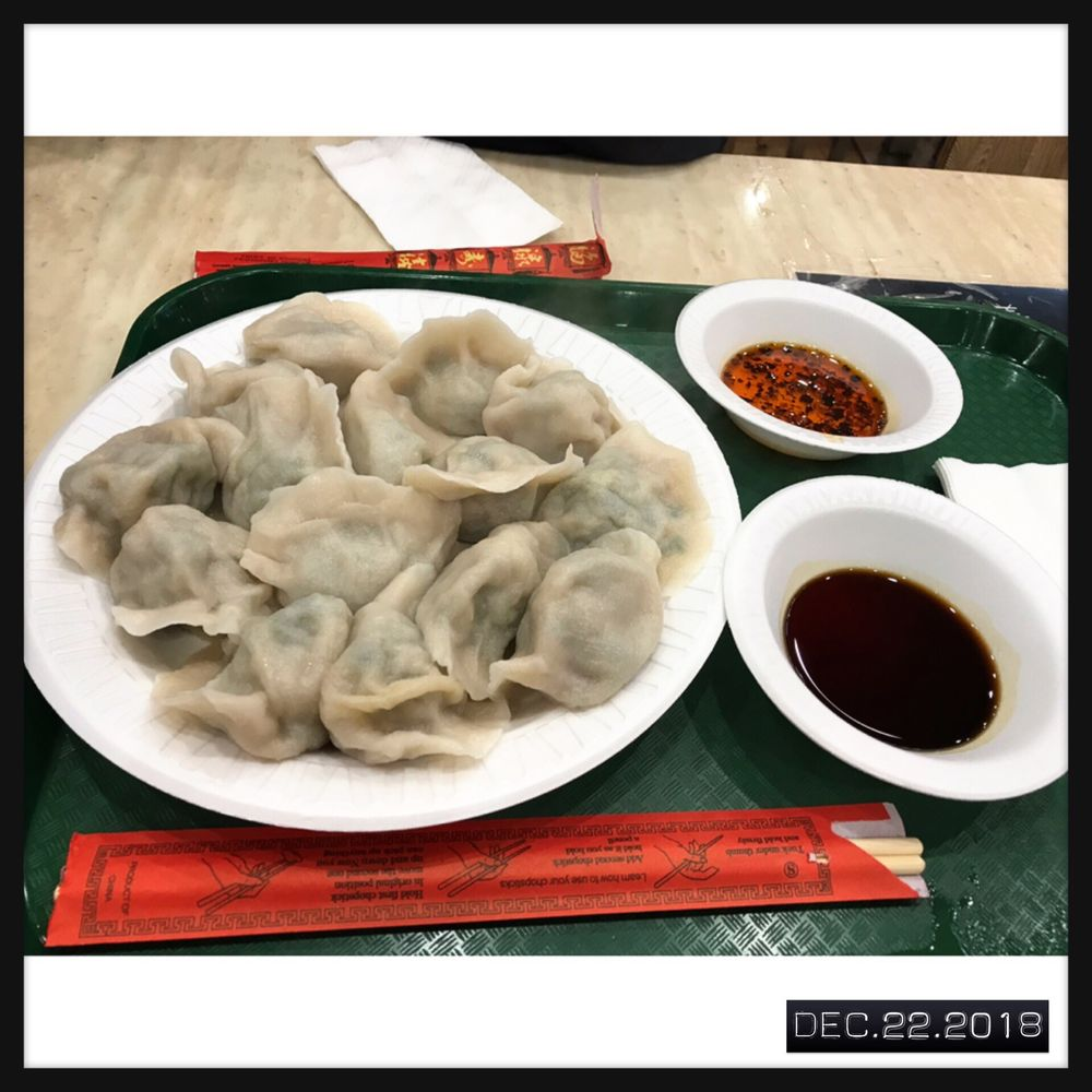 Pork and chives steamed dumplings ($8 - Large size) (Stall