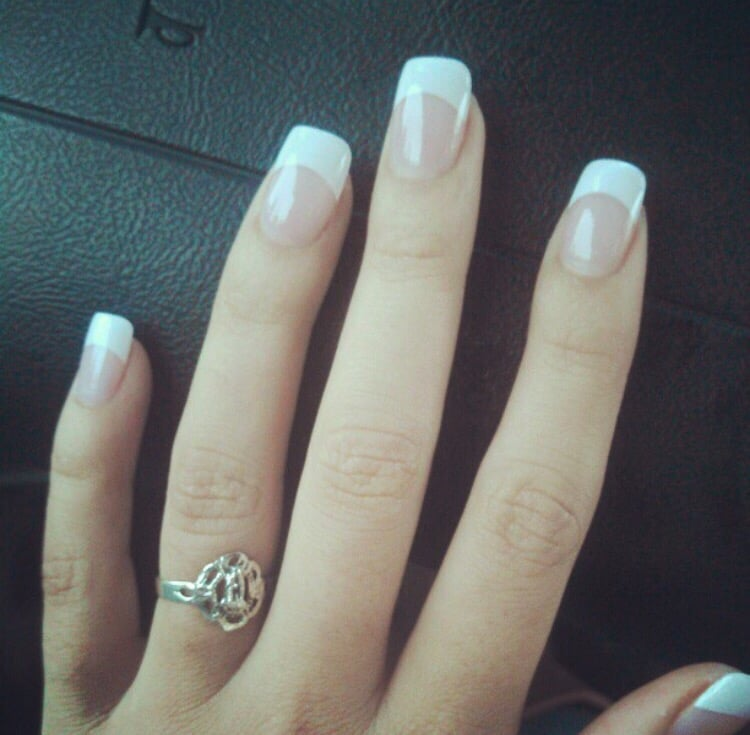 Acrylic white tip new set. Not too much white!! - Yelp
