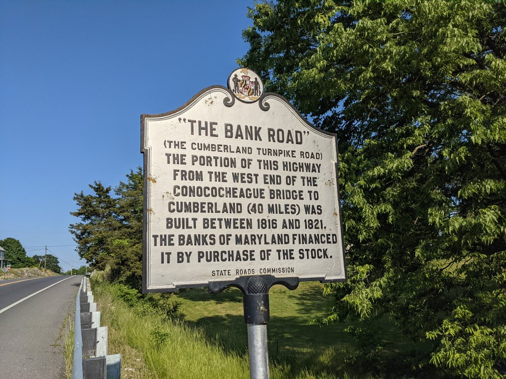 Bank Road Historical Marker: 14911 National Pike, Clear Spring, MD