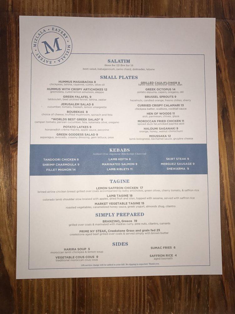 Mizlala Restaurant Menu