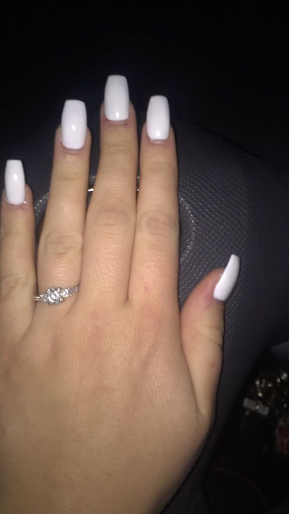 I love my white gel coffin nails! - Yelp