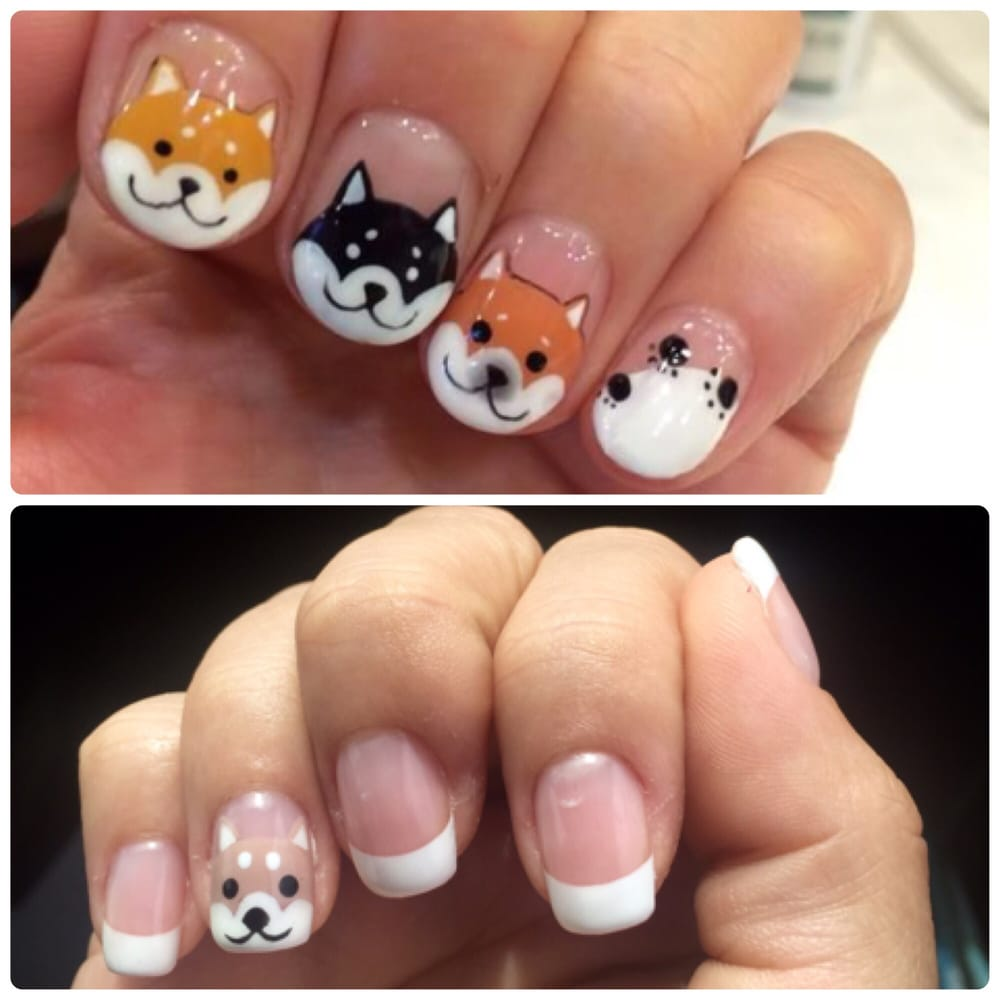 Reference vs. actual! Shiba inu nail art! (The only tan they had in ...