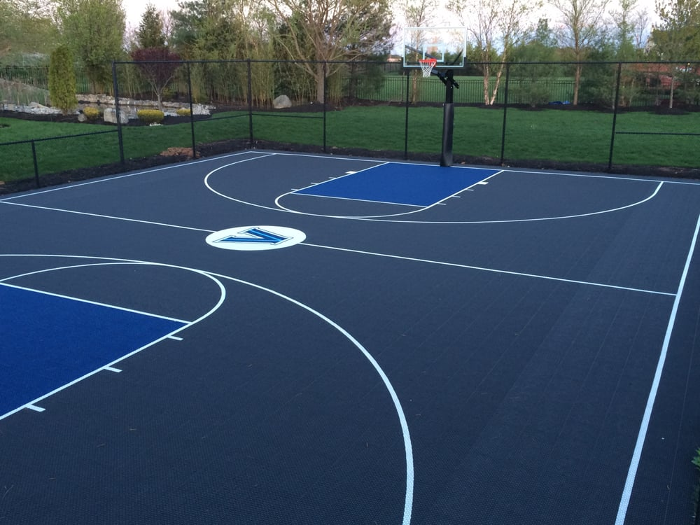 Backyard Basketball Court With Turf Soccer Field Attached