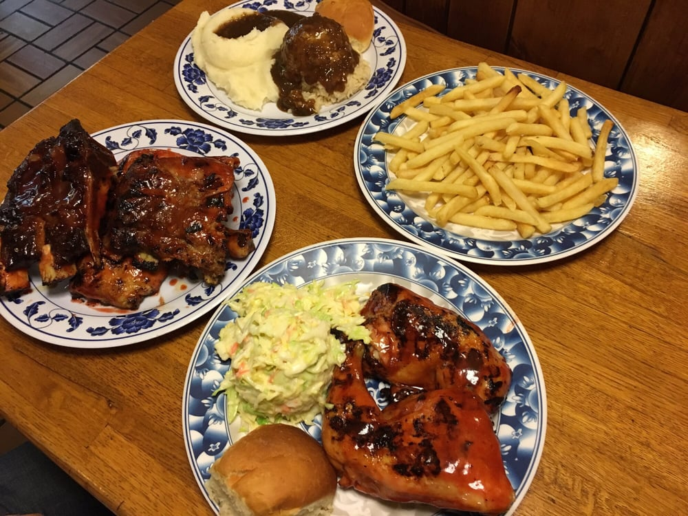 Beef rib pork rib chicken combo sides mashed for What sides go with barbecue chicken