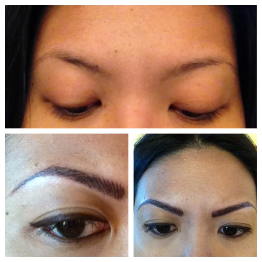 Top before and bottom after for 3d eyebrows yelp for 3d eyebrow tattoo near me