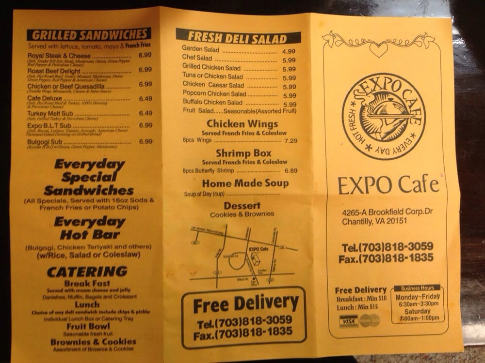 Expo Cafe Chantilly Va Menu
