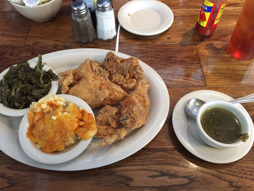 Fried Chicken Lunch With Cracklin Corn Bread And Collard