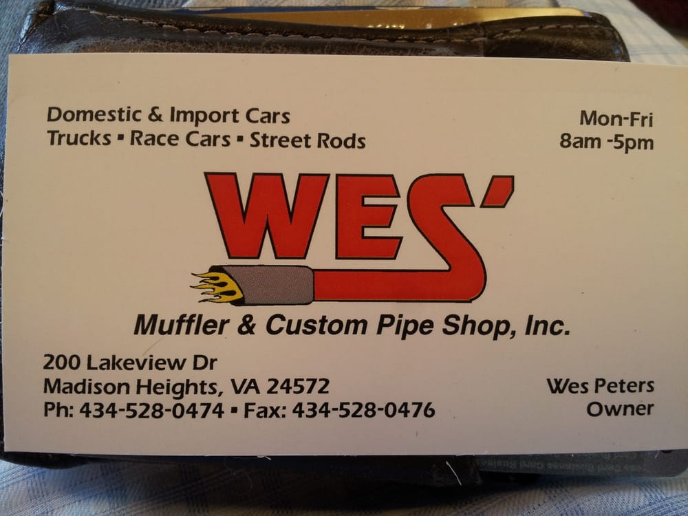 Wes' Muffler & Custom Pipe Shop: 200 Lakeview Dr, Madison Heights, VA