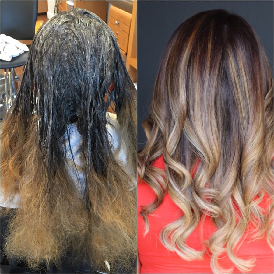 base color bumped up to level 6 apply balayage technique