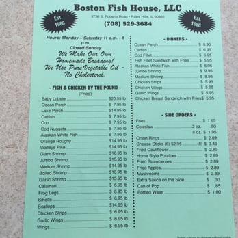 Boston fish house seafood 9736 s roberts rd palos for Boston fish house