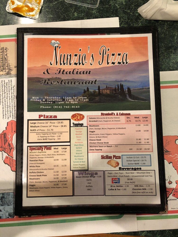 Nunzio's Pizza & Italian Restaurant: 208 Frederick St, Tyrone, PA