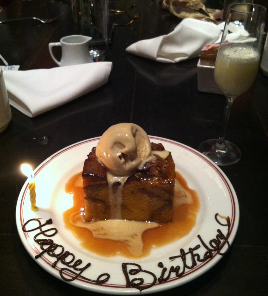 butterscotch bread pudding and complimentary dessert toasting