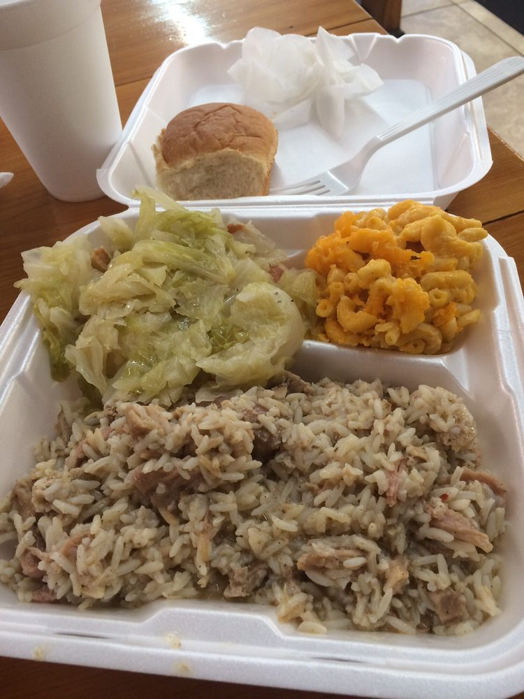 Photo of George\u0027s Country Kitchen - Glen Saint Mary FL United States. A & A nice southern plate of yummy a.k.a. pork and rice cabbage and ...