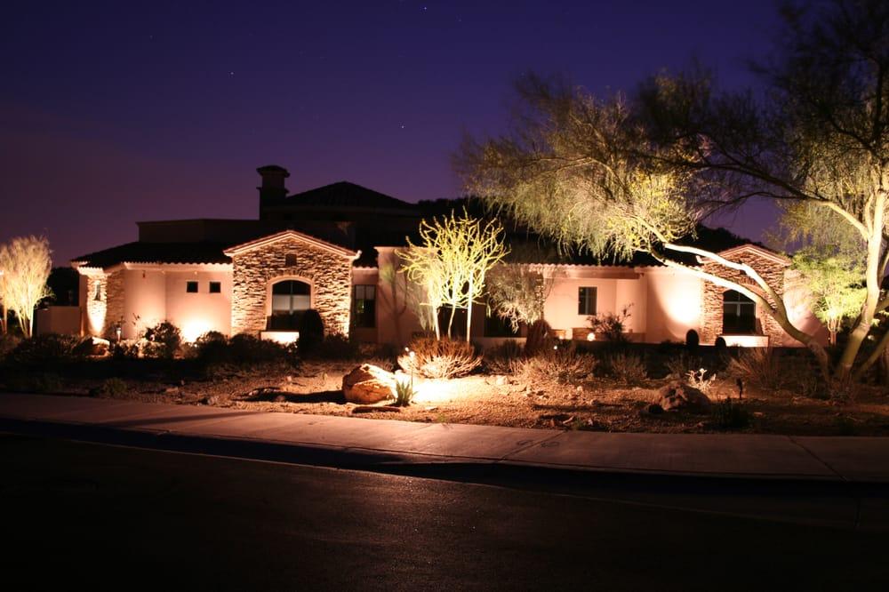 Fountain hills arizona desert frontyard with lighting for Landscape lighting packages