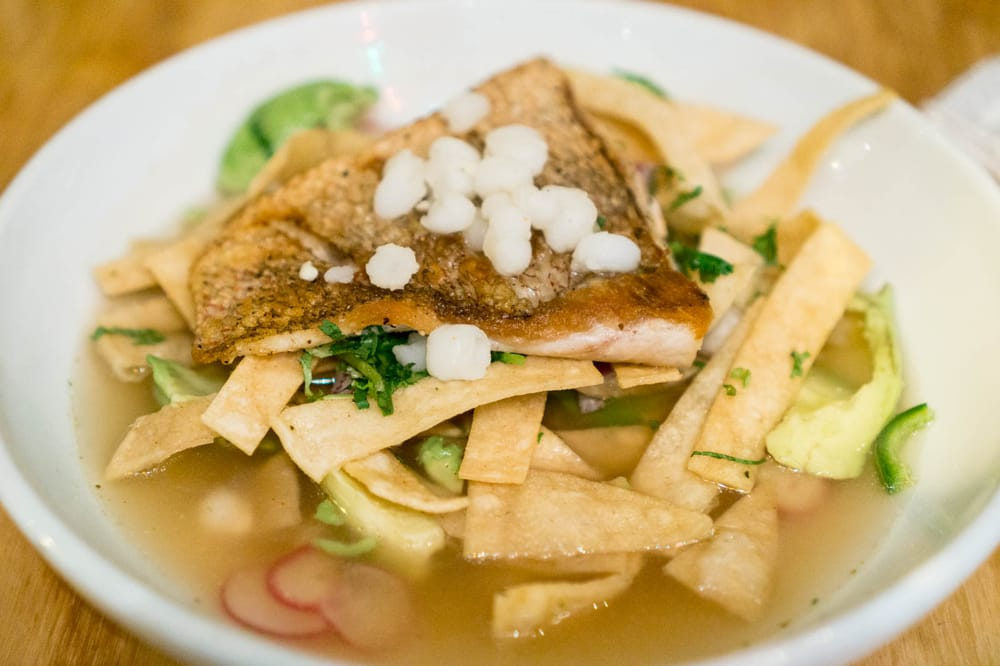 Red snapper pozole with avocado and hominy yelp for Marys fish camp fl