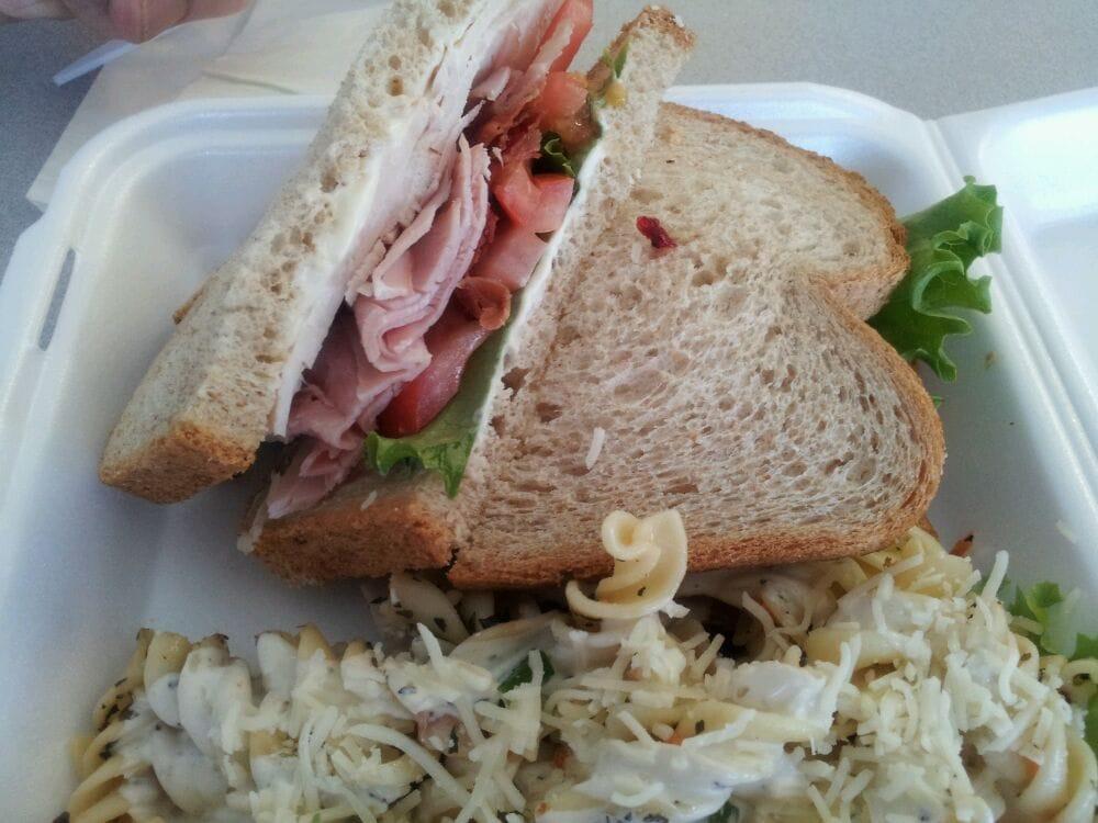 "... , CA, United States. ""Killer Club"" sandwich with pasta salad, $..."