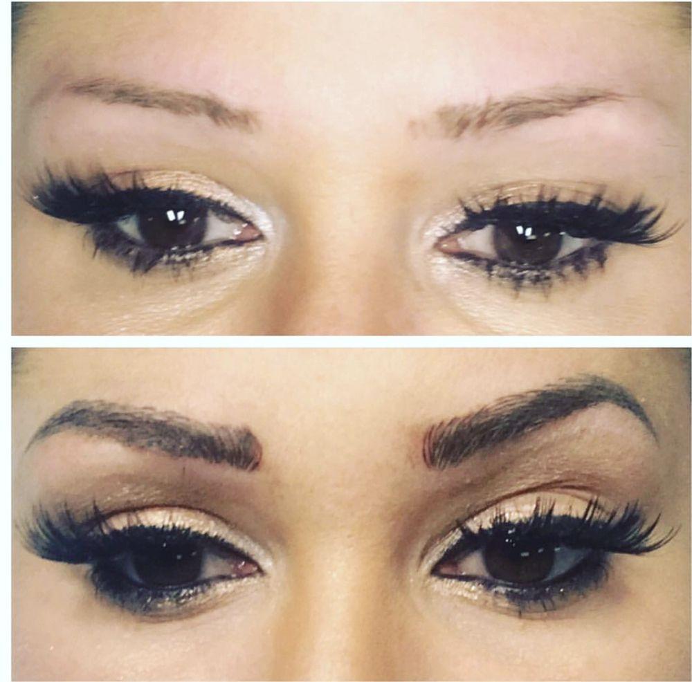Microblading Eyebrow Tattoo Microneedling Top Before Bottom