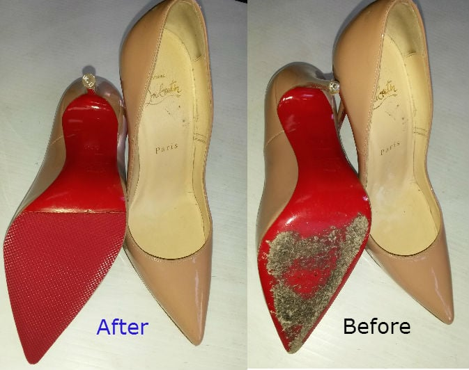 15e798f54c78 Louboutin before and after red soles repaired Elegant shoe repair - Yelp