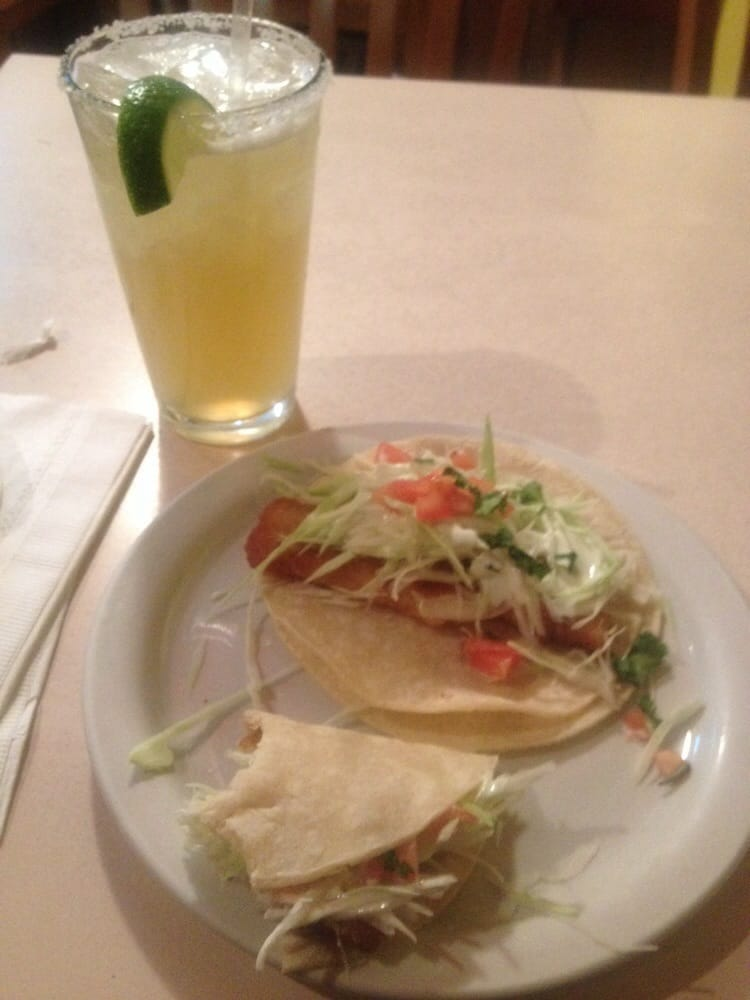 Great fish tacos and delicious strong margarita yelp for Good fish tacos near me