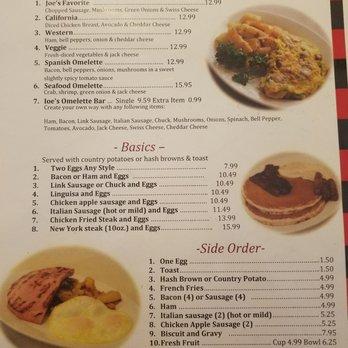 Joe S Cafe Burlingame Menu