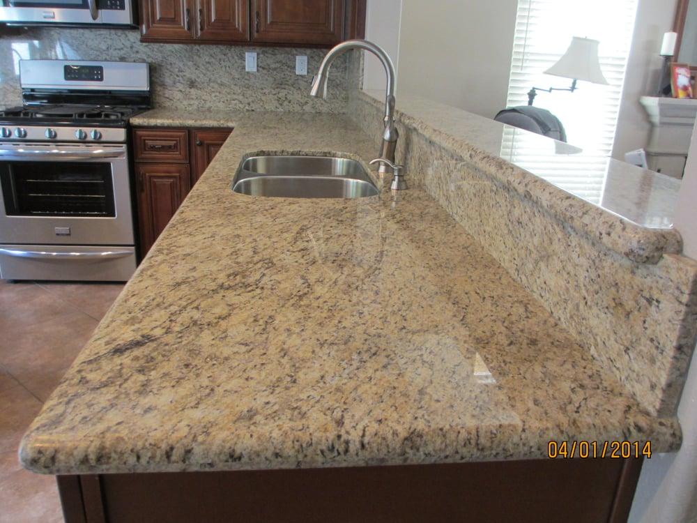 Custom granite giallo santo yelp for Granite countertop support requirements
