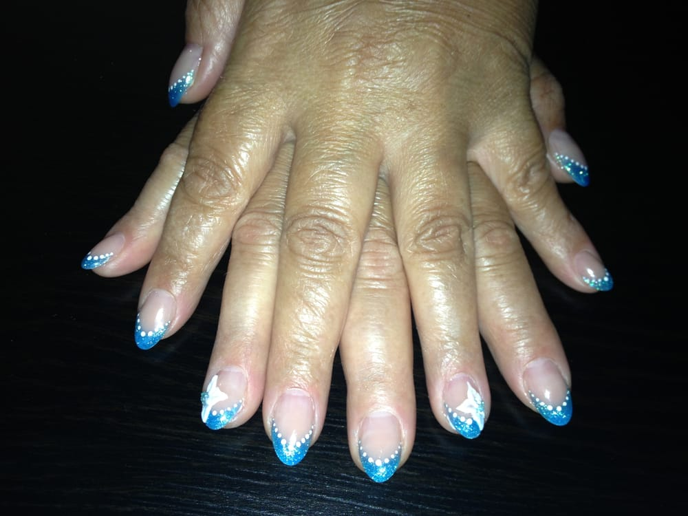 Blue French Classic Almond Nails with White Acrylic Flower - Yelp