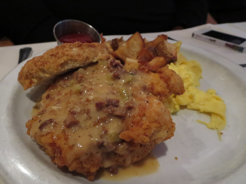 chicken biscuits eggs southern fried chicken over biscuits andouille red eye gravy. Black Bedroom Furniture Sets. Home Design Ideas