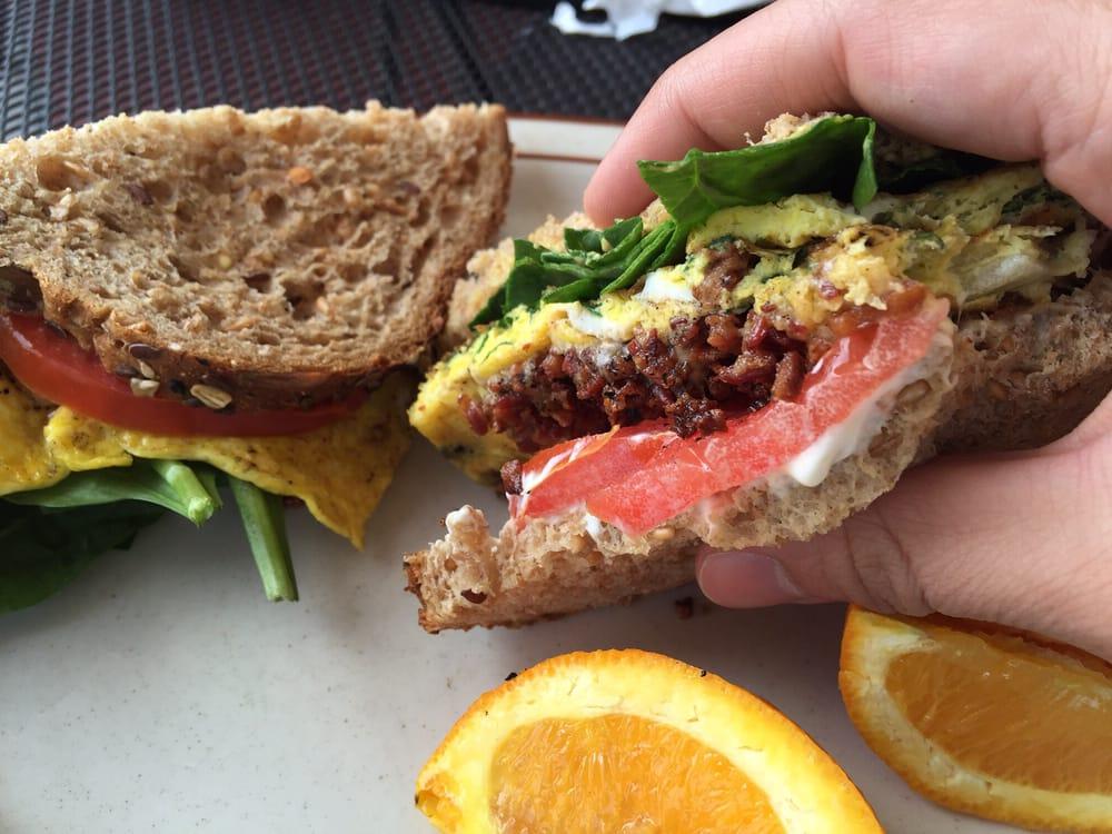 Breakfast Sandwich - wheat bread, mayo, bacon, avocado ...