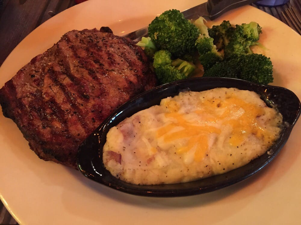 12 Oz Ribeye Cheesy Potatoes And Broccoli Yelp