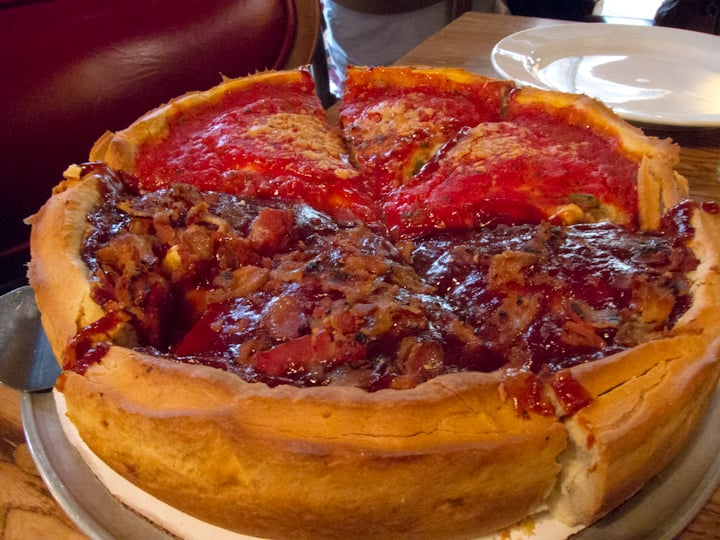 Auto Service Near Me >> Half Chicago Classic and Half Bacon BBQ Chicken small deep dish stuffed pizza - Yelp