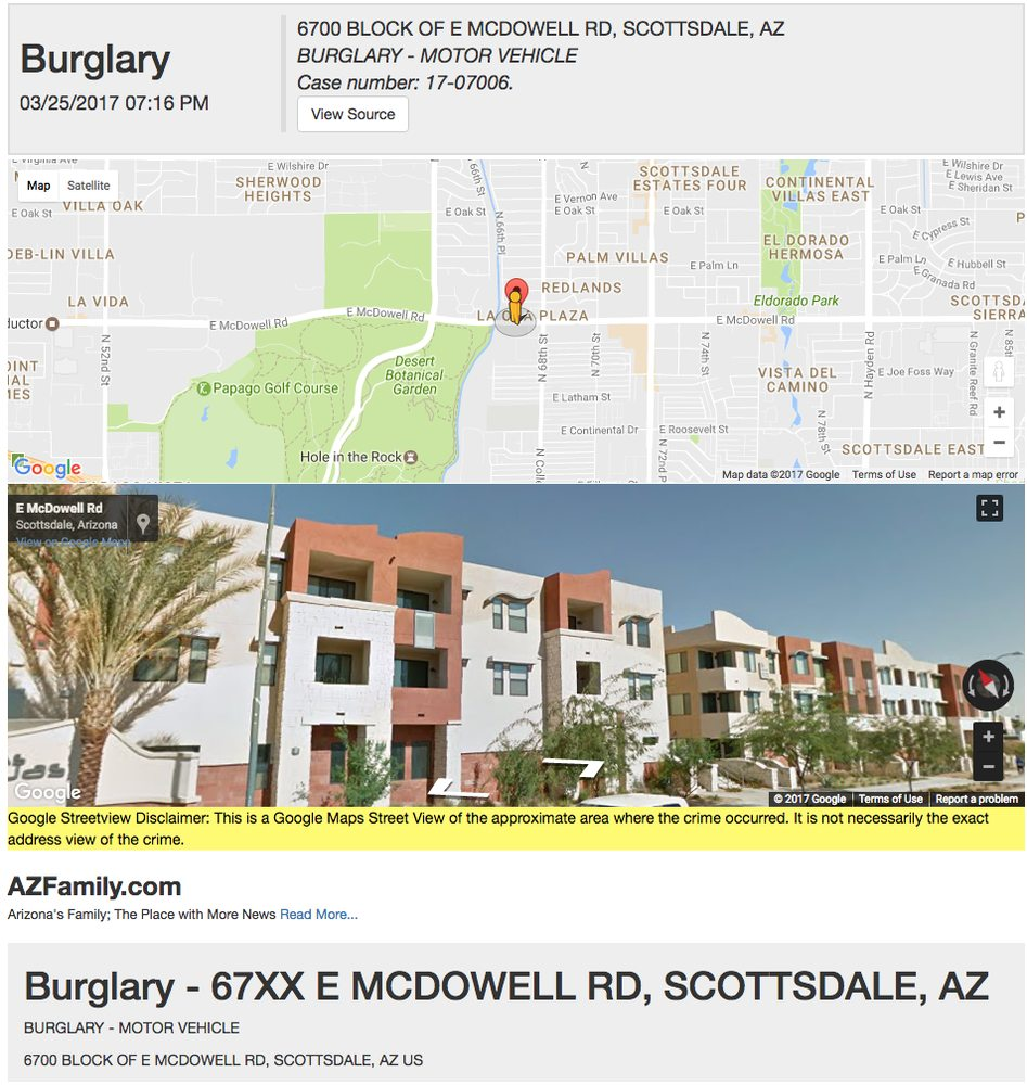 Apartments Scottsdale: The Crime Never Stops At Or Near Las Aguas Apartments In