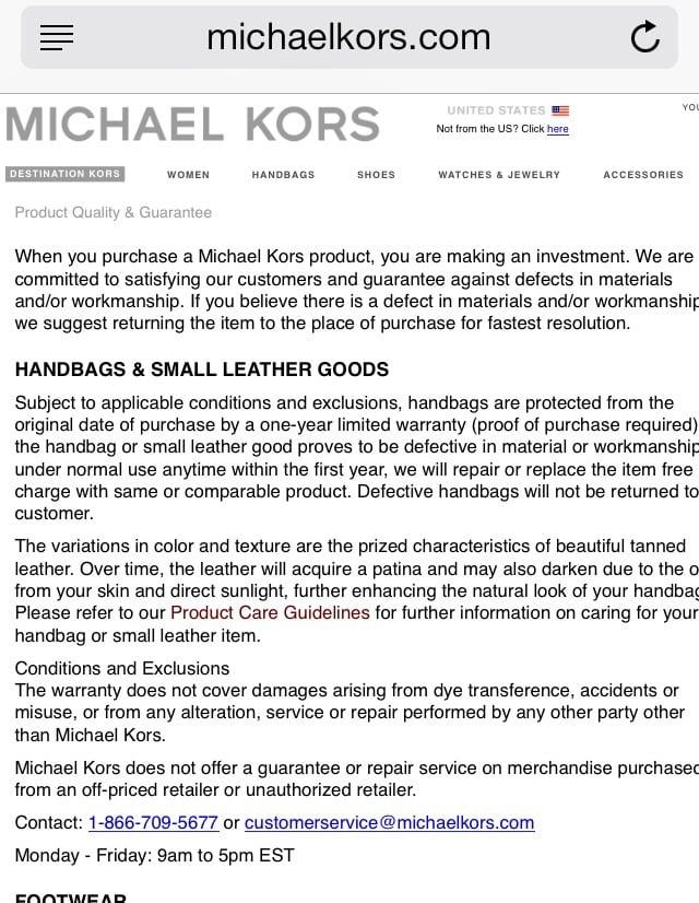 Michael Kors Sungl Warranty