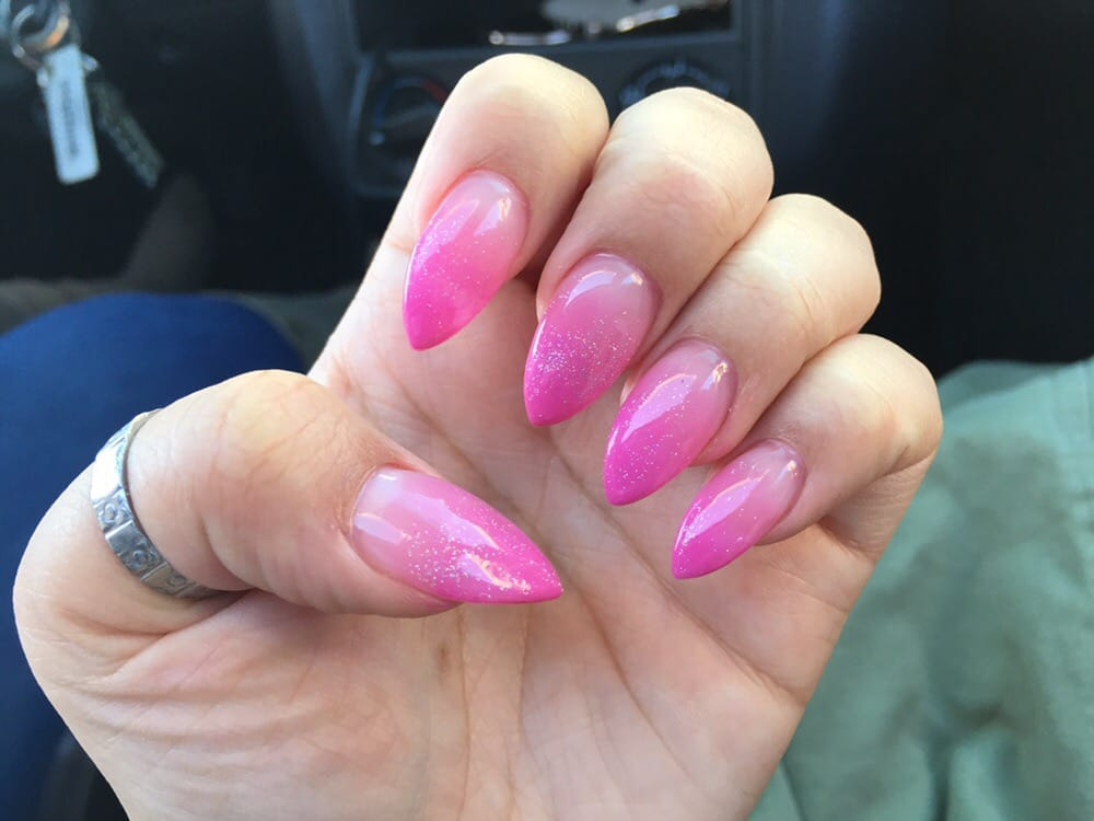 Rose did my nails, stiletto pink ombré nails! I love her, this is ...
