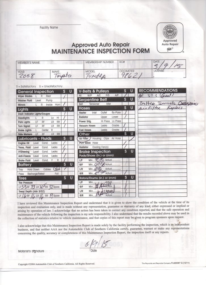 Pre-purchase inspection form used from AAA. - Yelp