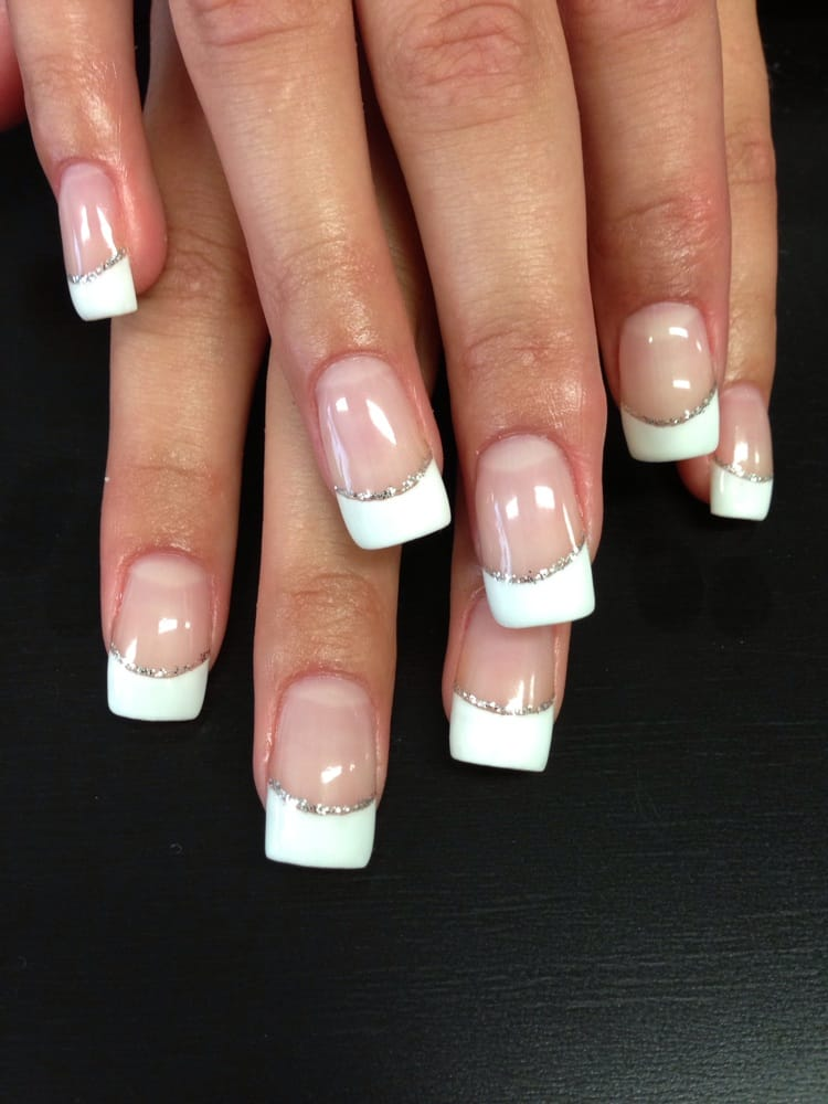 Beautiful gel set with French manicure and silver glitter! - Yelp