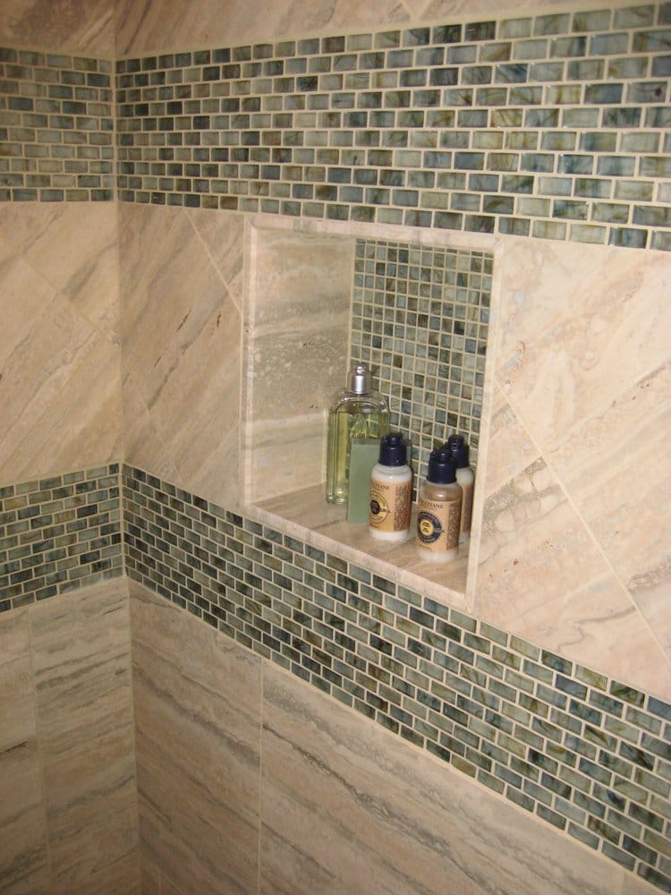 New Shower Travertine And Glass Tile With Built In Shelf