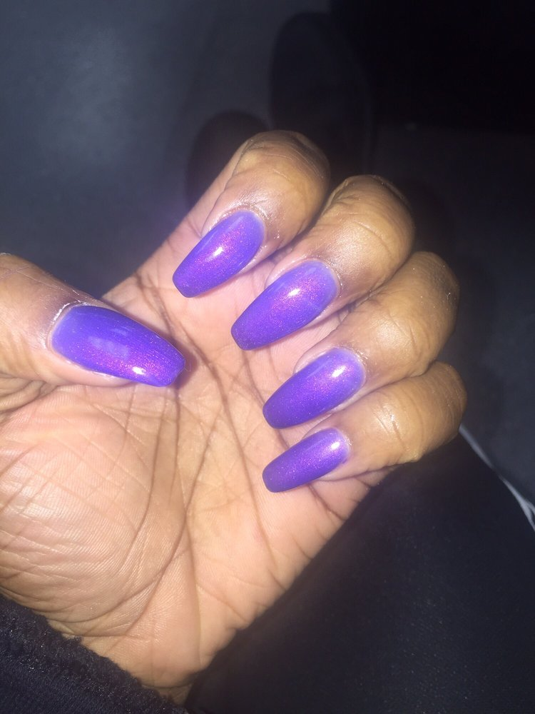 Mood gel coffin shaped nails. Done by the lady in the first desk - Yelp