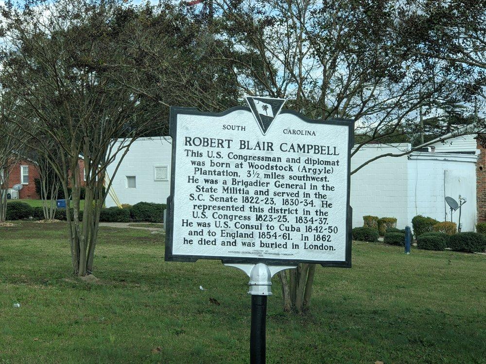 Robert Blair Campbell Historical Marker: 2469 SC-38, Blenheim, SC