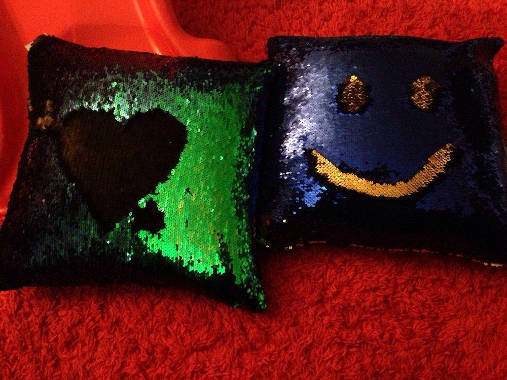 Sequin mermaid throw pillows $9 each Yelp