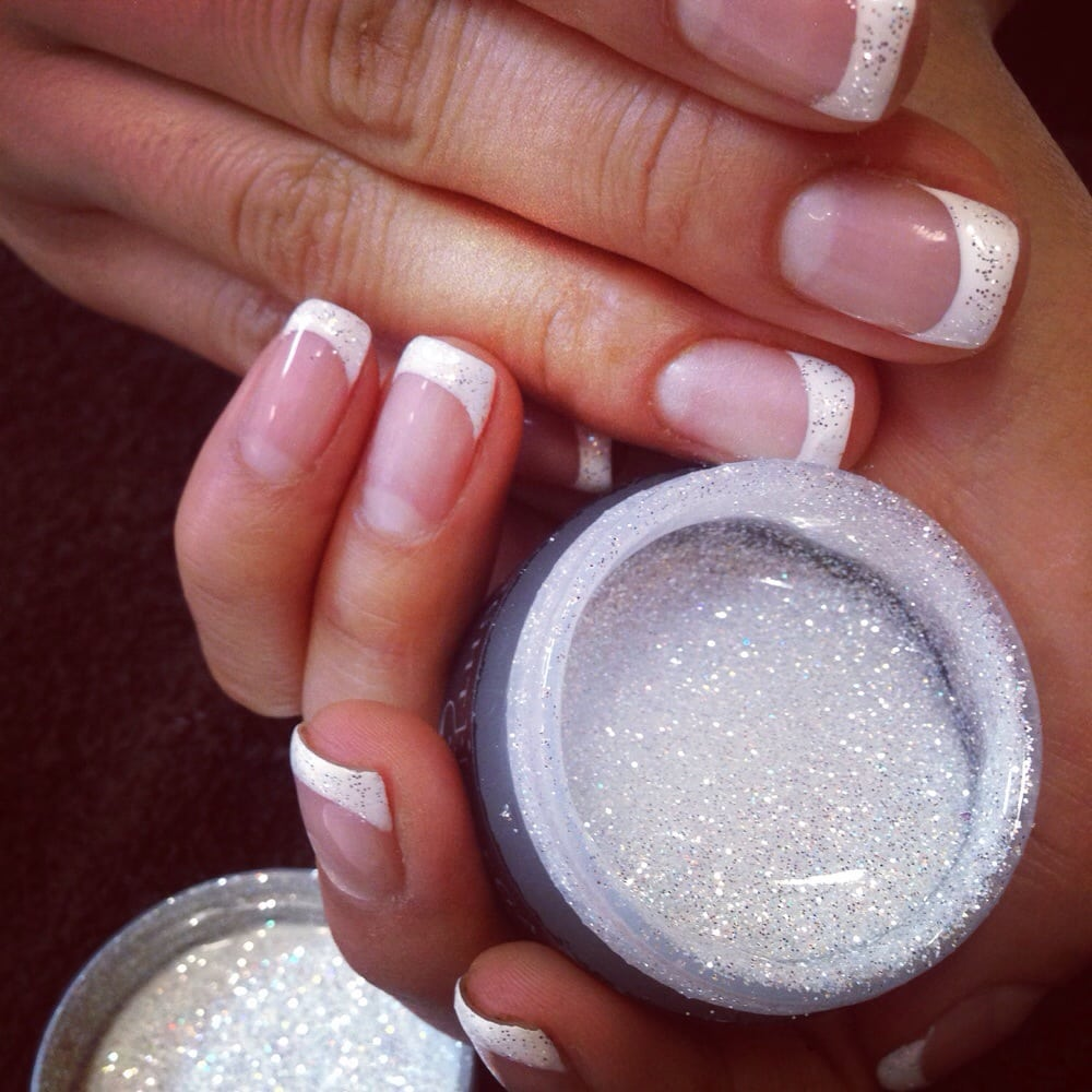French Gel Nails with White Diamond Hardgel - Yelp