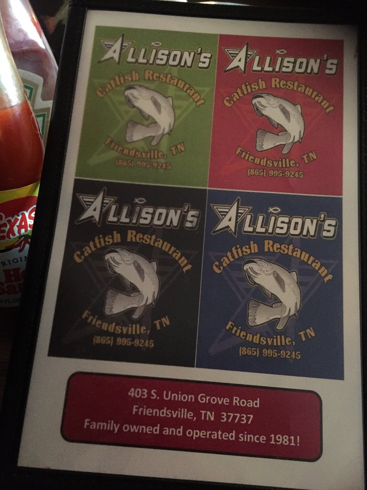 Allison Catfish Farm & Restaurant: 403 S Union Grove Rd, Friendsville, TN