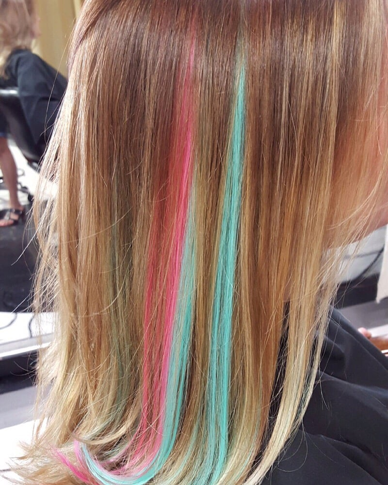 Pink And Blue Tape In Hair Extension Peekaboo Highlights
