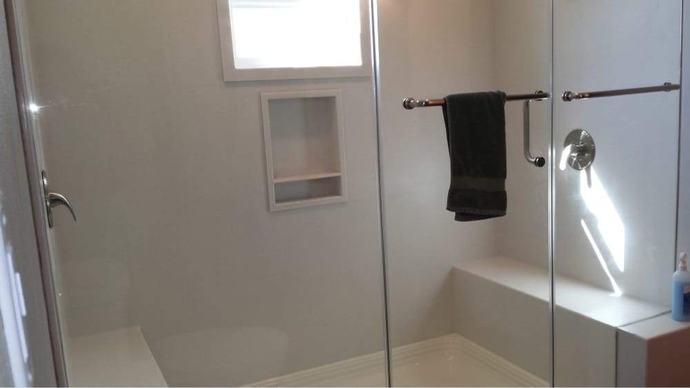 Living Stone Acrylic Shower Surround With Double Seats