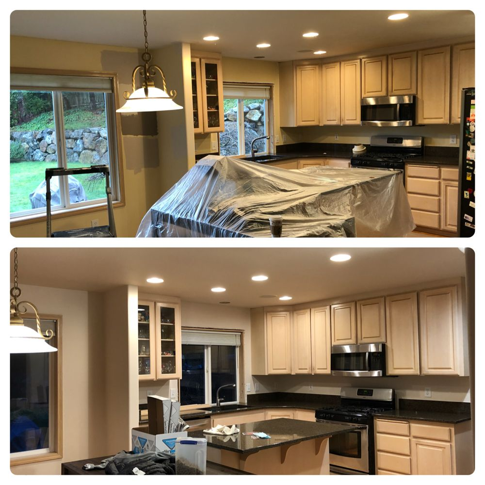 New ceiling and wall paint in the kitchen. Cabinets are getting ...